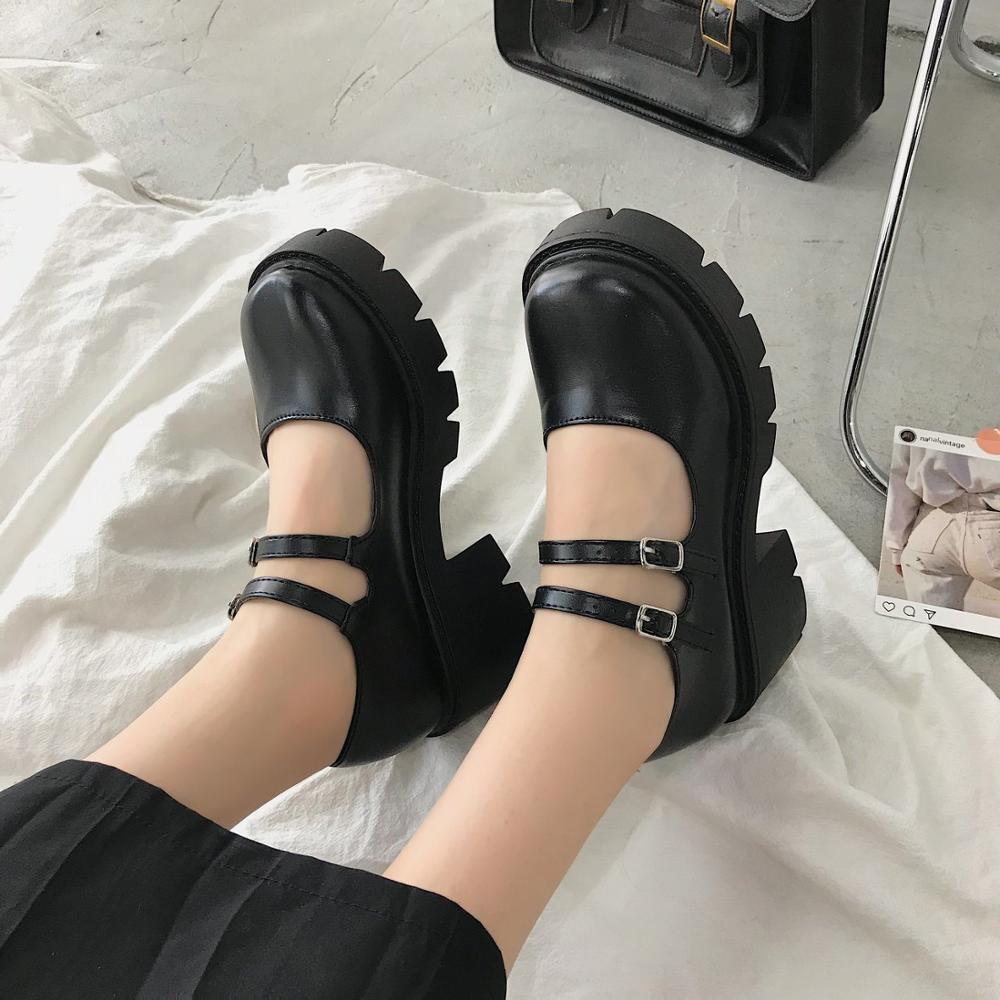 Lolita – chaussures à talons hauts pour femmes, Style japonais, Vintage, doux, pour filles sœurs, plateforme étanche, Costume Cosplay pour étudiantes 5