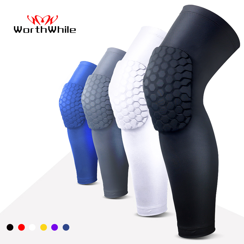 WorthWhile 1PC Basketball Knee Pads Protector Compression Sleeve Honeycomb Foam Brace Kneepad Fitness Gear Volleyball Support