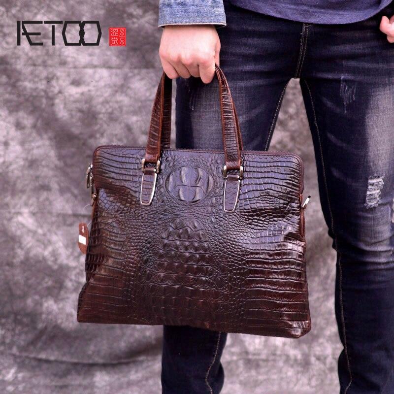 AETOO Crocodile motif porte-documents cuir homme business sac huile peau ordinateur sac Europe et amérique sac à main cuir homme sac