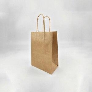 Image 3 - Sac cadeau en papier kraft à la mode, 40 pièces, sacs pour courses, sac demballage brun de noël, excellente qualité 21x15x8cm