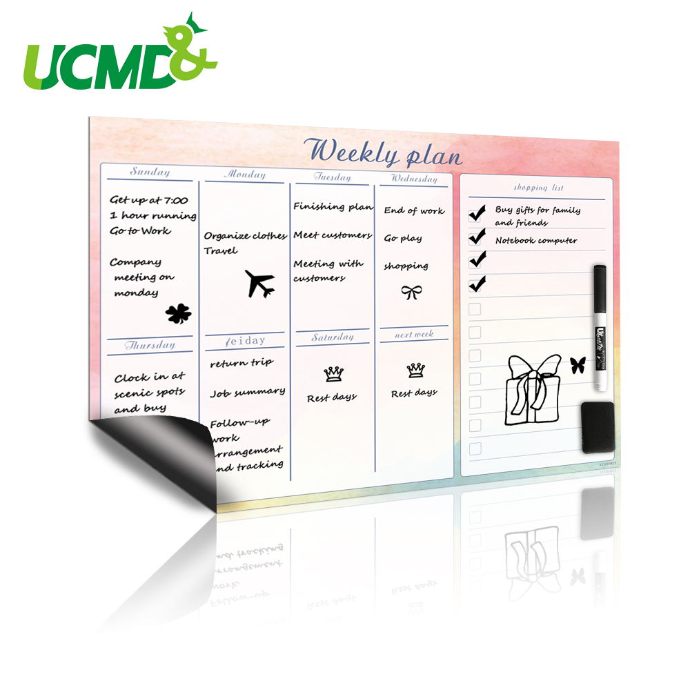42x30cm Magnetic Weekly Planner Whiteboard Fridge Magnet Flexible Daily Work Study Plan Time Schedule Organizer Message Board