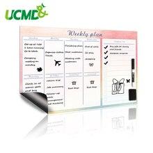 Placa branca magnética, planejador semanal, 42x30cm, ímã, flexível, diário, trabalho, plano de estudo, organizador de horário, placa de mensagens