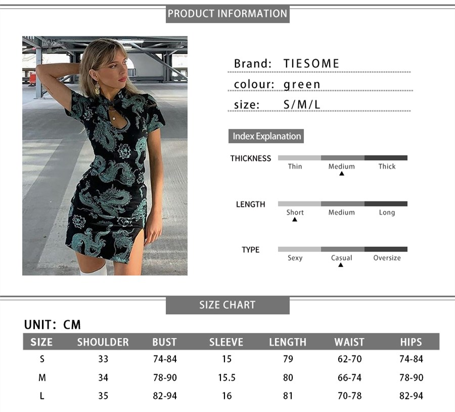 TIESOME 2020 Chinese Traditional Dress for Women Dragon Gothic Hem Split Sexy Mini Dresses Hollow Out Cheongsam Vintage Party 8