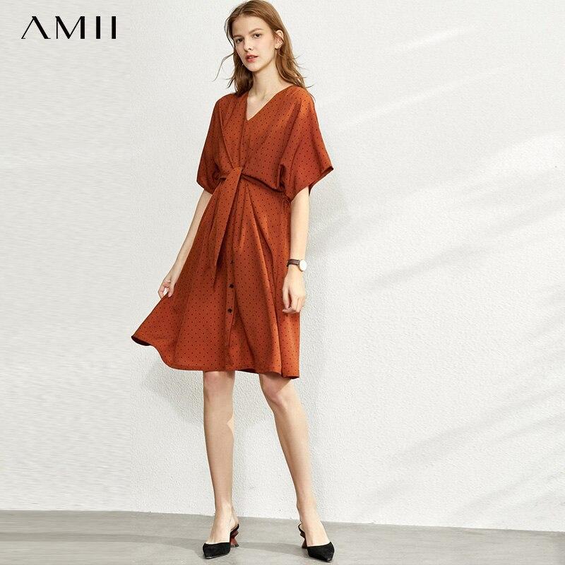 Amii  French Retro Dress Women's New Spring 2020 V-neck Tie Printed Chiffon Skirt 11970327