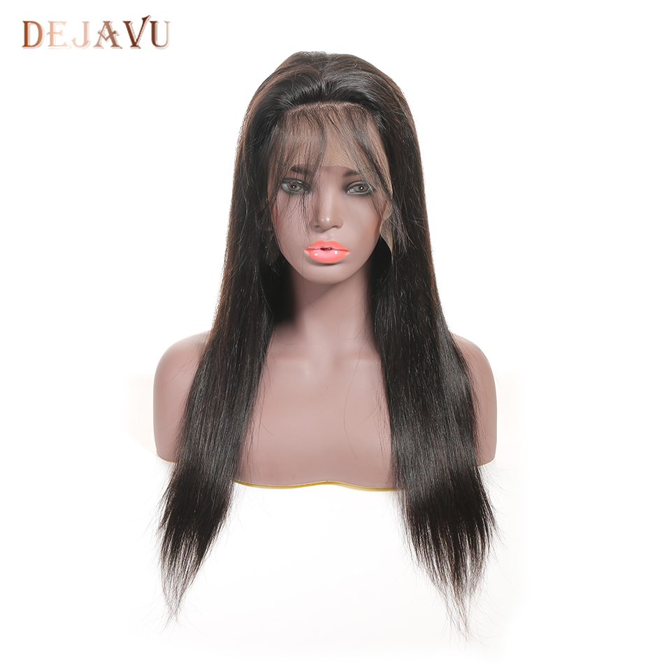DEJAVU 13*4 Lace Wigs Brazilian Straight Pre Plucked With Baby Hair 8- 28 Inch Non Remy  Human Hair Lace Frontal Wigs
