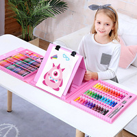 176PCS Art Set With Easel Artist Crayon Drawing Paint Brush Pen For Kids Birthday Gifts Art Painting Supplies
