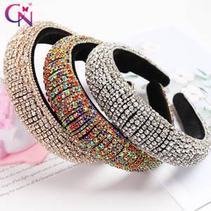 CN Full Crystal Baroque Tiara Headband Luxury Diamante Hairband For Women Bridal Padded