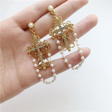 retro cross Pearl chain personality earringssymmetrical  Baroque rhinestone boho long earrings
