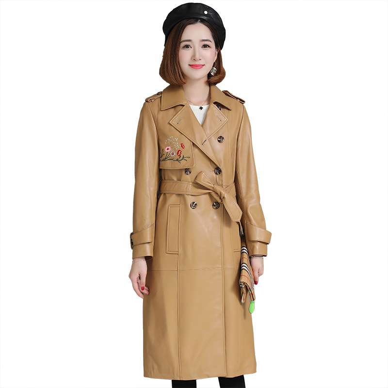 Autumn Winter  Sheepskin Women's Long Windbreaker Coat Embroidered Thin Leather Jacket Genuine Leather Fashion Coats with Sashes