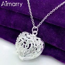 Aimarry 925 en argent Sterling 18 pouces charme amour coeur pendentif collier pour les femmes de mariage fête d'anniversaire cadeaux bijoux de mode