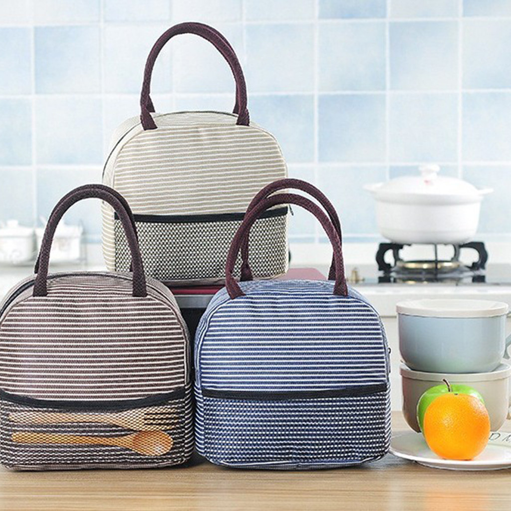 Portable Stripe Lunch Bag For Women Kids Men Insulated Canvas Box Tote Handbag Thermal Food Container Lunch Bags