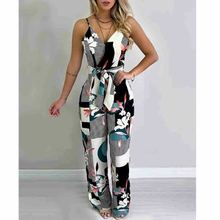 Women Summer Boho Floral Jumpsuit Long Trousers Pants Spaghetti Strap V Neck Backless Street Office Jumsuits Clothes