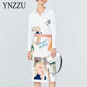 Элегантный женский комплект из двух частей 2020 года, Новое поступление, Повседневная Блузка с принтом и длинным рукавом, юбка с высокой талие...