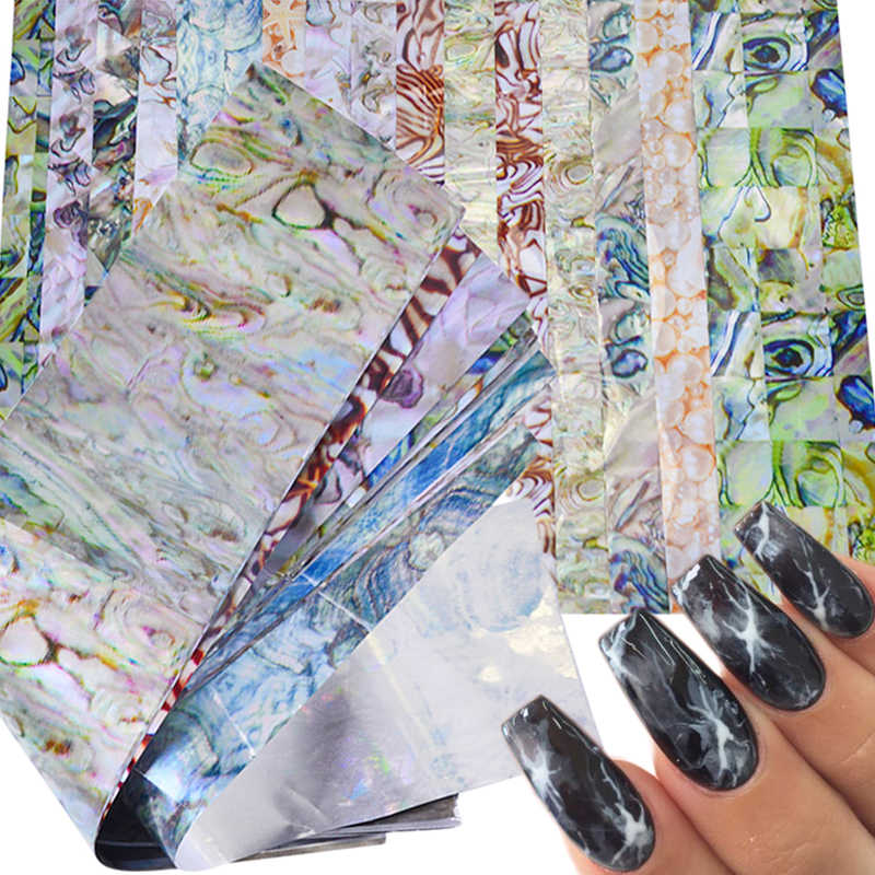 16 PCS Kleurrijke Marmeren Shining Stone Rock Nail Art Folie Stickers Lijm Transfer Prachtige Manicure Nail Art Decoraties TR492
