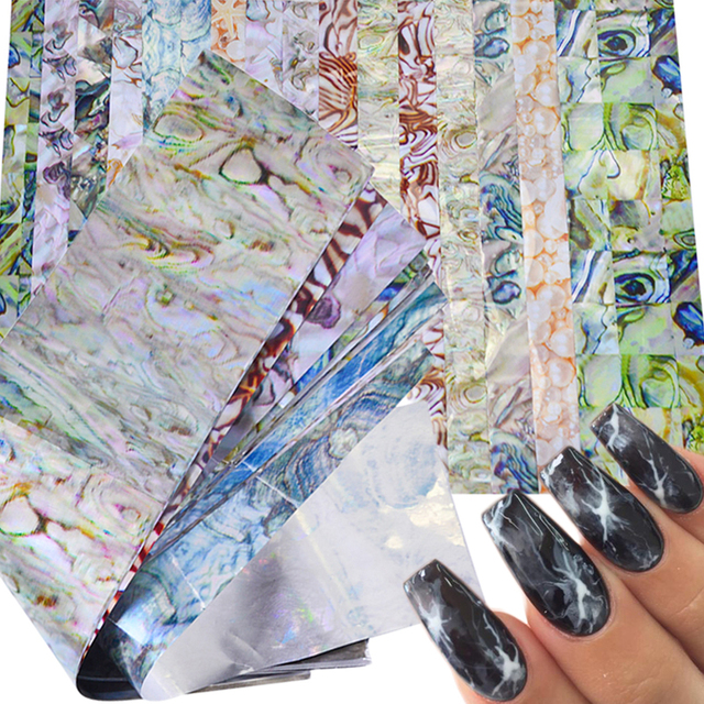 16 قطعة حجر رخامي ملون لامع ملصقات على شكل صخور للأظافر ملصقات على شكل رقائق صمغية نقل رائع للتقليم تزيين الأظافر TR492