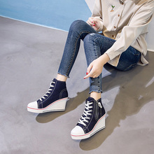 2019 New Big Size Canvas Shoes Woman Wedge Side Zipper Height Increase Casual Shoes High Top