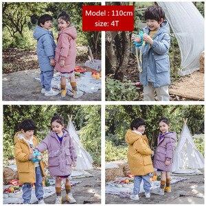 Image 4 - Warme mäntel Winter kleidung Lange Unten Jacke Kinder Koreanische Starke Mit Kapuze Jacke Baby Jungen & Mädchen Schneeanzug Winter Jacke Kinder parka