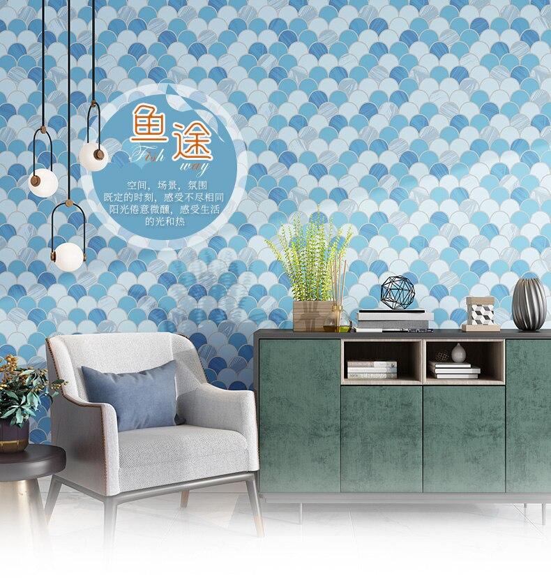 Moderne minimaliste bleu poisson échelle papier peint 3d Style nordique chambre salon fond Non-tissé papier peint mosaïque papier peint