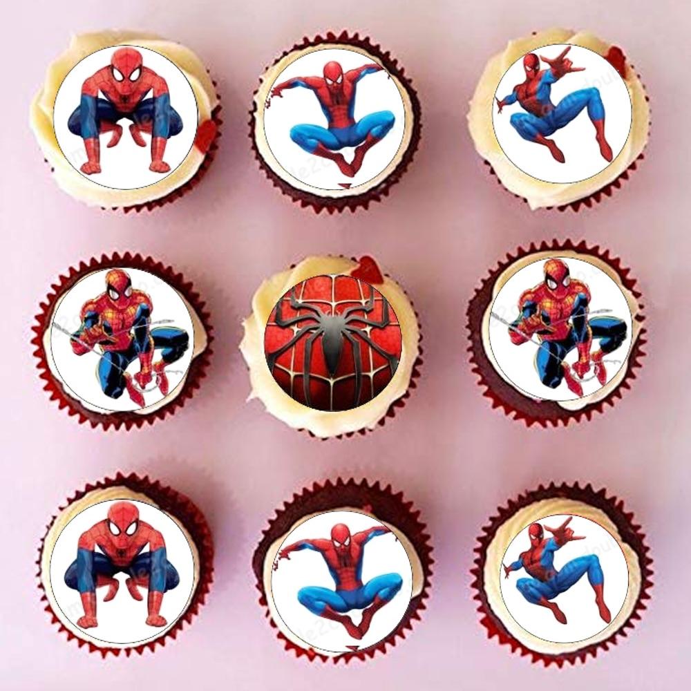 35 шт./лот съедобные вафли бумага Человек-паук для чашки торт Топпер глазурь бумага дети мальчики день рождения торт Топпер украшения инструменты