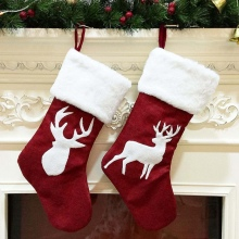 2 Piece 46cm Christmas Stocking Hanging Socks Xmas Rustic Personalized Stocking Decorations Family P