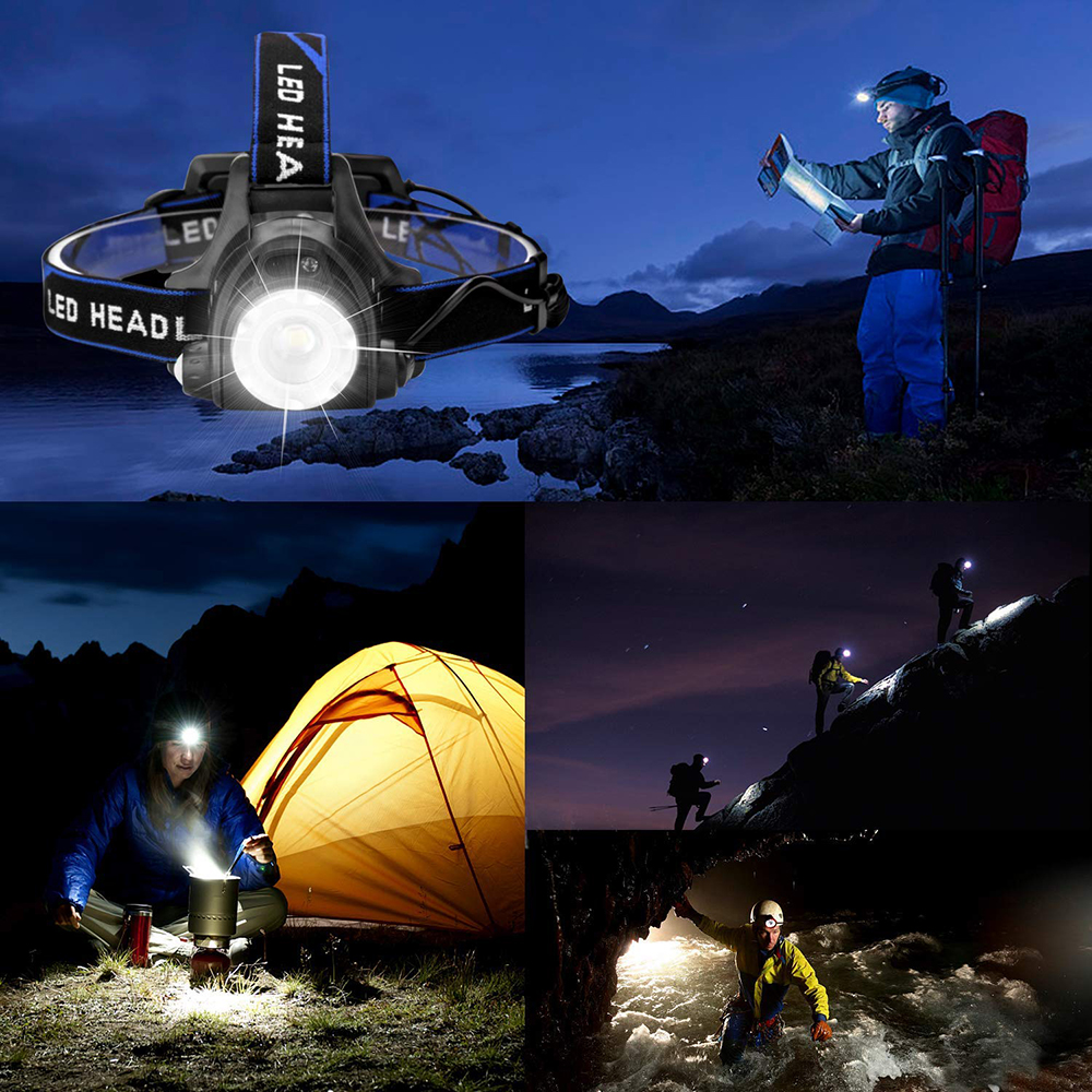 Купить с кэшбэком Super bright LED Headlamp Fishing lamp Headlight Zoomable 3 lighting modes Used for adventure camping hunting, etc use 18650