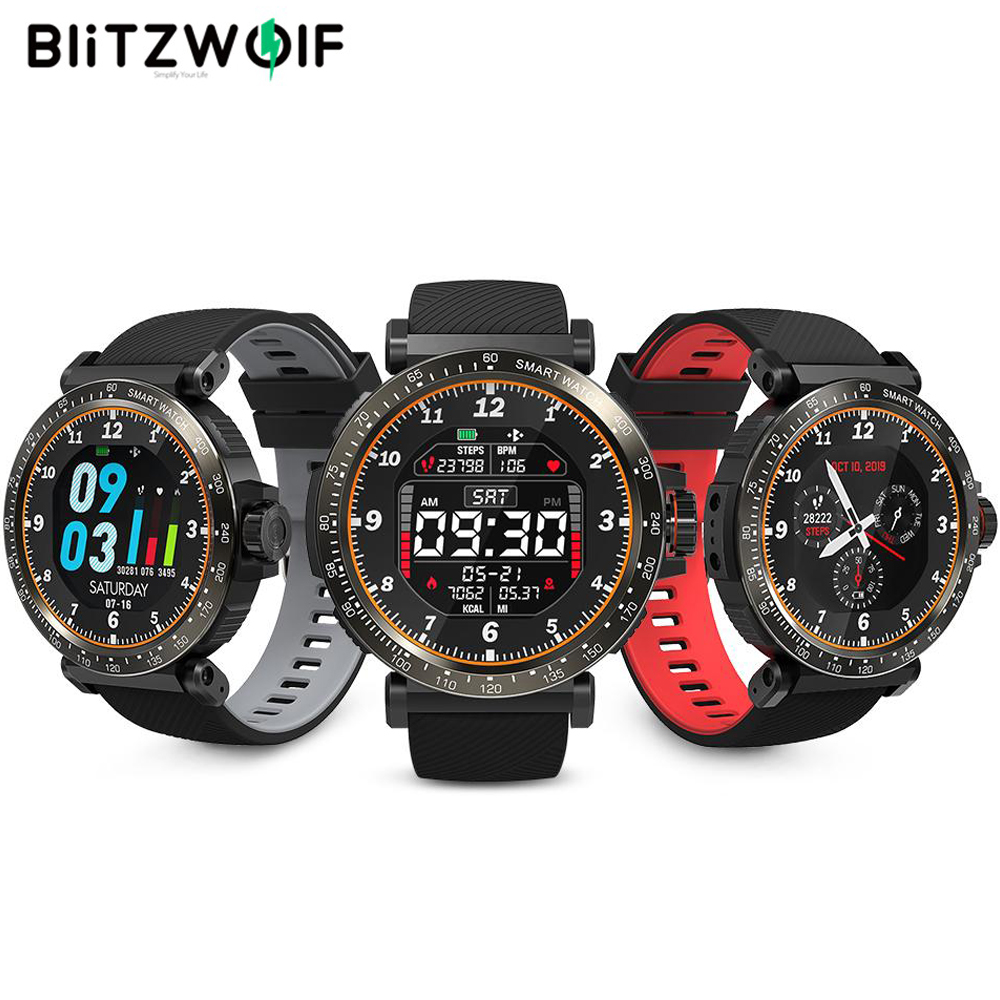 BlitzWolf BW-AT1 Smart Watch Dymanic UI Fitness Tracker Heart Rate Blood Pressure Oxygen Monitor Smartwatch Men Women Wristband