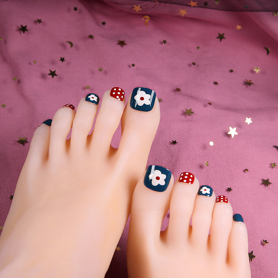 Summer Fake Nails Patch Weep Yafeng Desirable Available With Toenail Nail Stickers Finished Product Summer Wear Toenails PCs