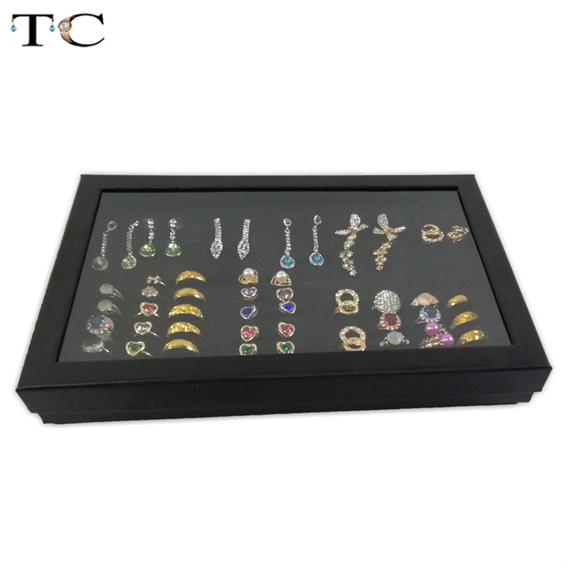 Exquisite Practical Fine 100 Slot Ring Display Tray Organizer Show Case Jewelry Earrings Holder Storage Box Transparent Window