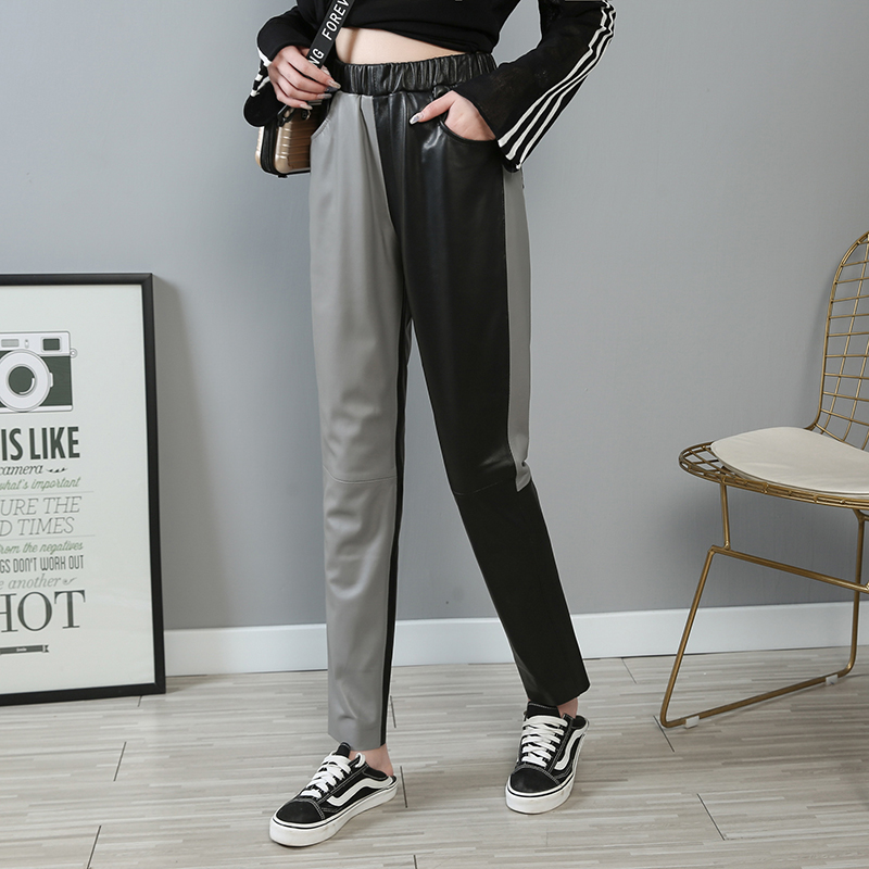 XS-3XL frappé couleur Véritable pantalon En Cuir peau de Mouton pantalon Femme taille haute noir était mince mince en cuir véritable Pantalon F682 livraison directe