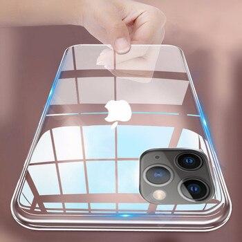 Coque de téléphone en Silicone Transparent Ultra mince pour iphone 11 Pro Max étui iphone XR XS Max X 7 8 6 6S Plus couverture arrière transparente en TPU souple
