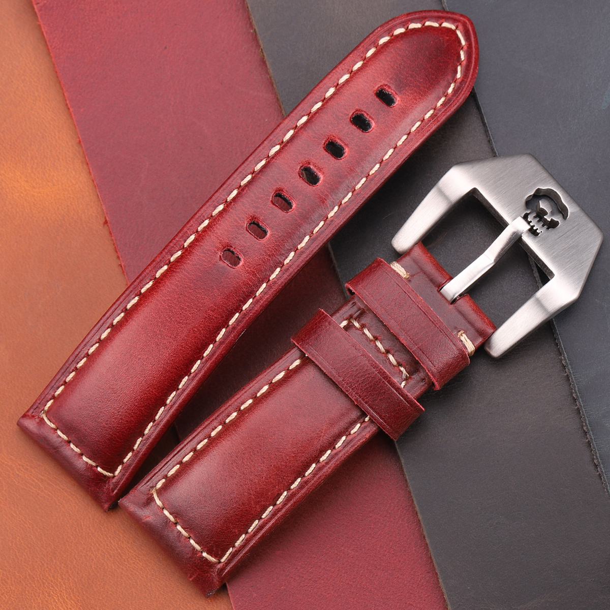 Vintage Watchbands 22 24 26mm Cow Leather Strap Watch Band Red Blue Green Brown Watch Accessories For Panerai Watch(China)
