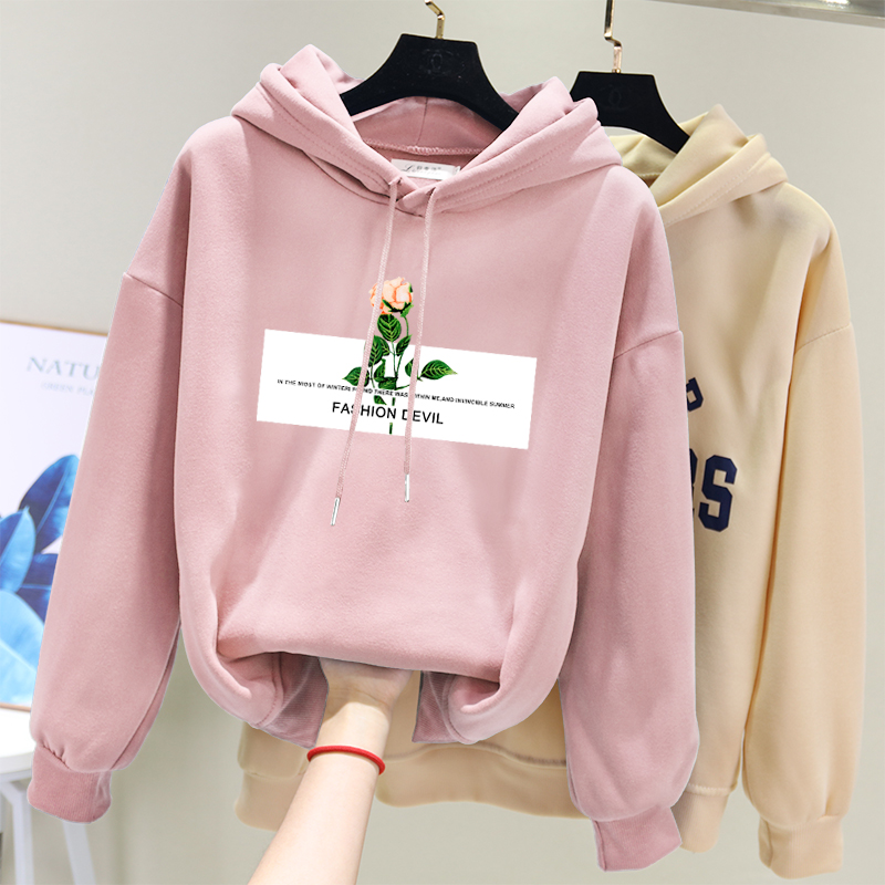 2019 Zuolunouba Winter Women Hoody Sweatshirt Printing Harajuku Letter Rose Lady Hoodie Casual Loose Fleece Pink Pullover Female