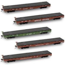 5 шт. HO Масштаб 52ft плоский автомобиль поезд контейнер Бортовой перевозки 1: 87 грузовых автомобилей много C8741