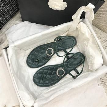 """Luksusowe damskie sandały najwyższej jakości sandały z prawdziwej skóry modne letnie fajne buty łatwe dopasowanie solidne słodkie buty damskie tanie i dobre opinie CN (pochodzenie) Pasek w kształcie litery """"T"""" Płaskie z PRAWDZIWA SKÓRA Otwarta Mieszkanie (≤1cm) Na co dzień"""