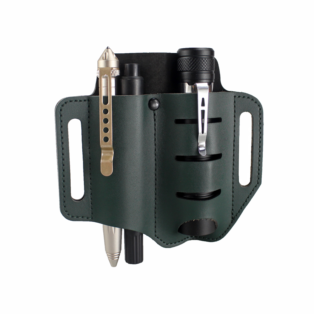 Leather Tool Sheath 2 Pockets Multitools Holder Essentials Organizer Belt Pouch For Pocket Knife Tactical Pen Flashlight