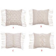 45x45cm Macrame Hand-woven Cotton Linen Yarn Pillow Cover Pillowcase Bohemia For Photo Background