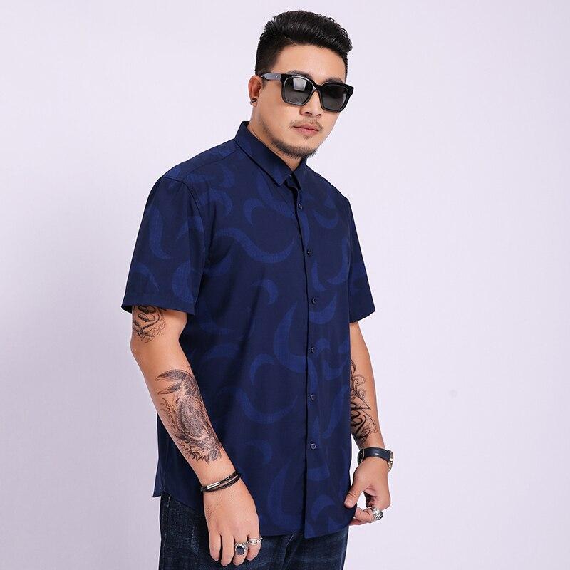 8XL 7XL 6XL 5XL Short Sleeve Shirt Men Clothes 2020 NEW Summer Mens Shirts Casual Slim Fit Print Camisa Masculina Chemise Homme