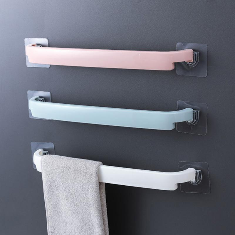 Bathroom Storage Holder Useful Wall Mounted Towel Bar Shelf Self-adhesive Rack Holder Toilet Roll Paper Hanger Bathroom Storage