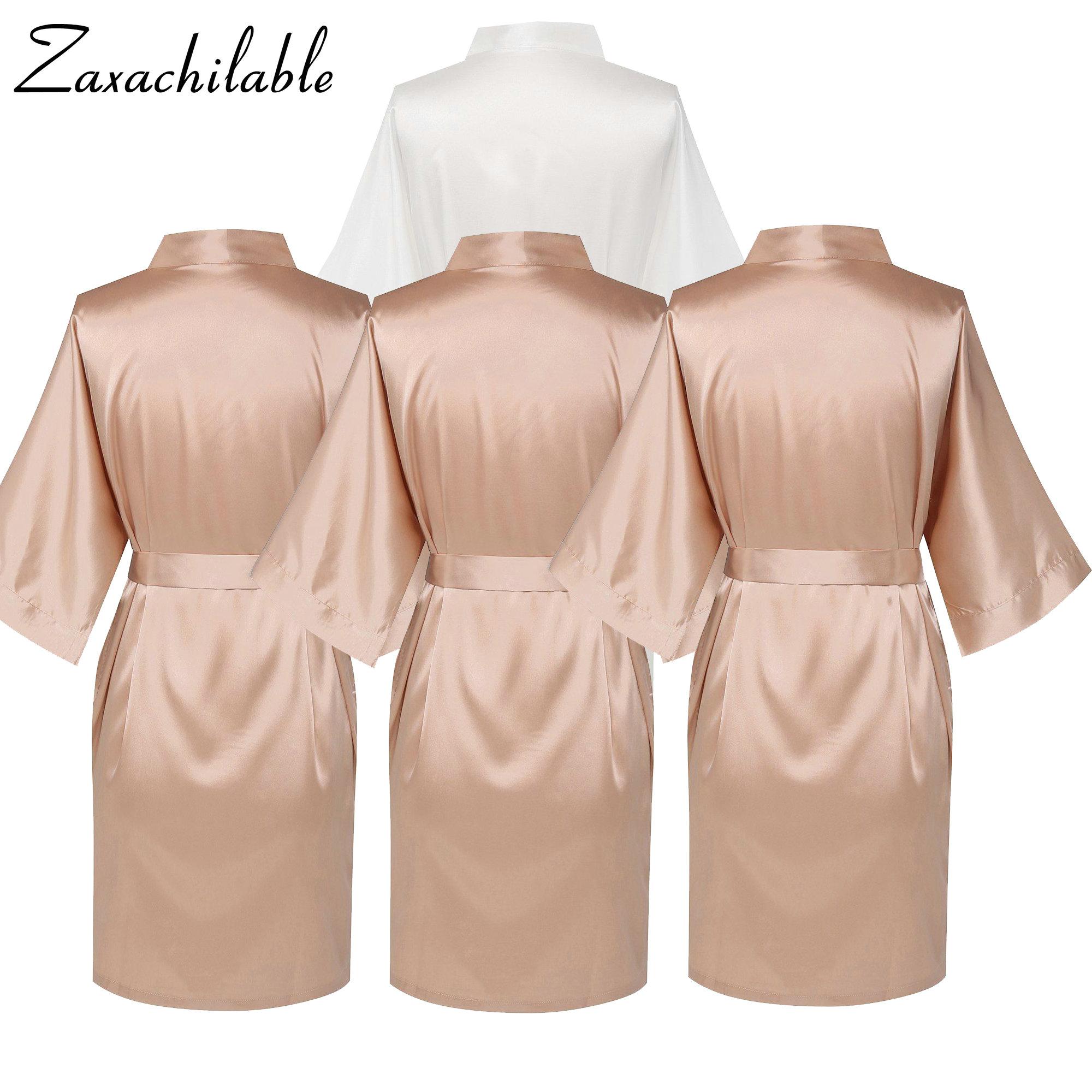 2019 New Bridesmaid Bride Satin Robe,  Wedding Bath Robe  Bridesmaid Robes Wedding  Solid  Knee-Length  Women Robe