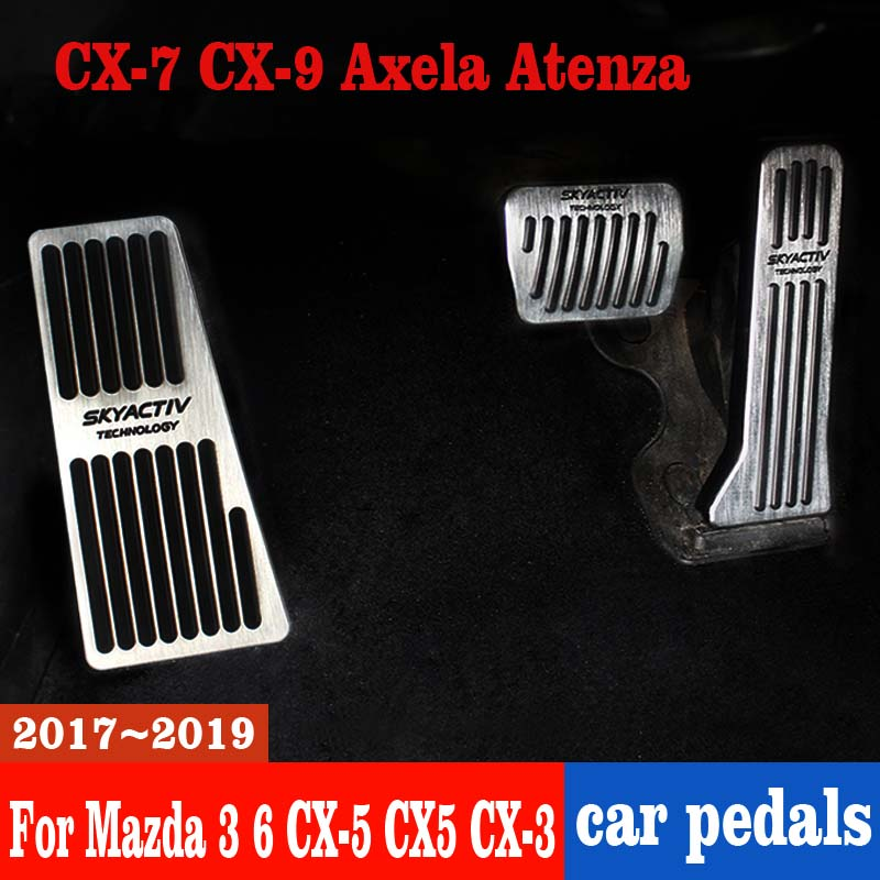 Car Accelerator Brake Clutch Pedal Footrest Pedal Plate Cover For <font><b>Mazda</b></font> <font><b>3</b></font> 6 <font><b>CX</b></font>-5 CX5 <font><b>CX</b></font>-<font><b>3</b></font> <font><b>2017</b></font> 2018 2019 <font><b>CX</b></font>-7 <font><b>CX</b></font>-9 Axela ATENZA image