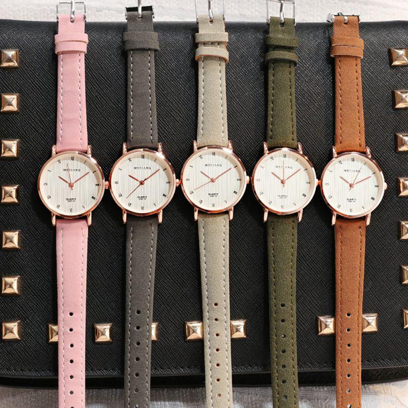 Exquisite Simple Style Women Watches Luxury Fashion Quartz Wristwatches Woman Clock Leather Strap Quartz Student Watch 2020