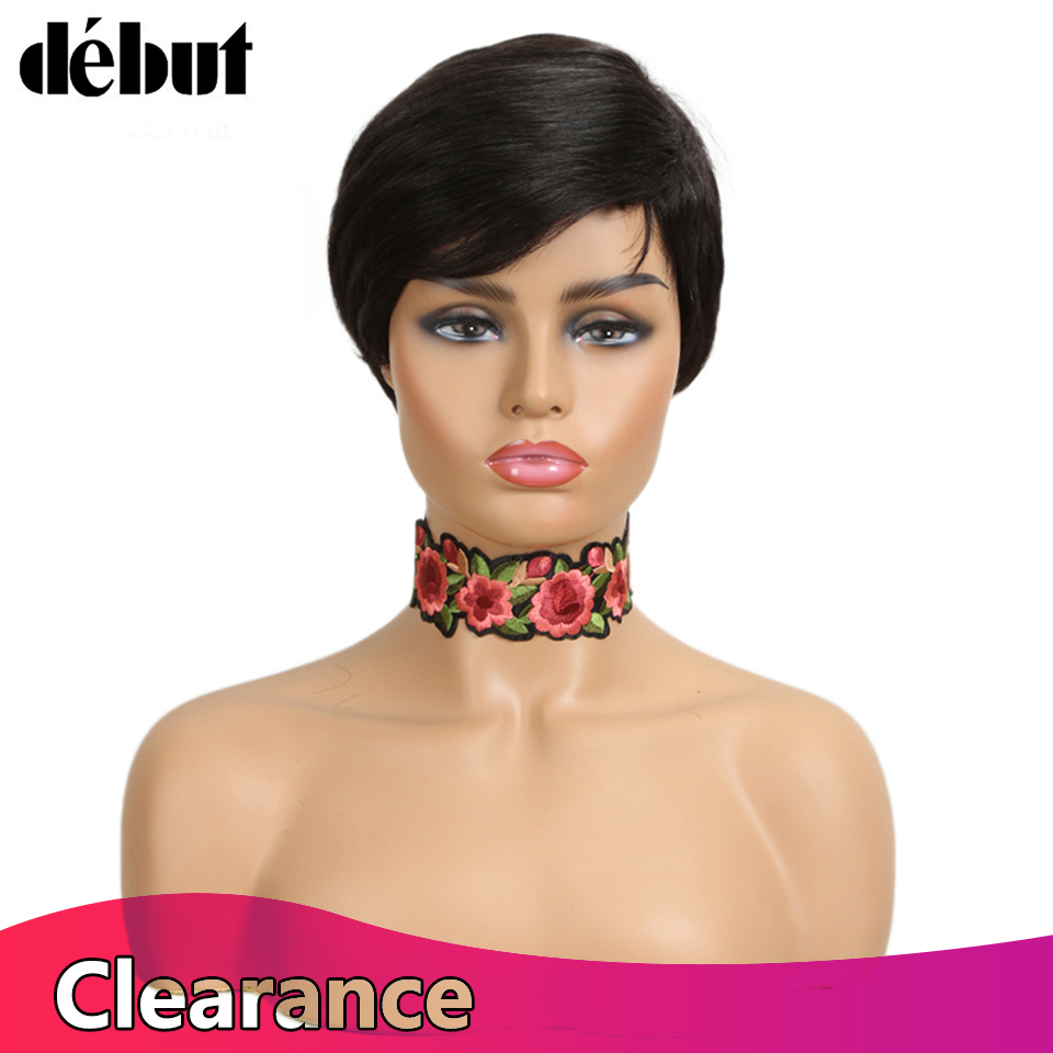 Debut Short Human Hair Wigs For Women 8 Inches No Lace Wigs Fashion Remy Brazilian Hair Wigs Water Wave Short Hair Women Gifts