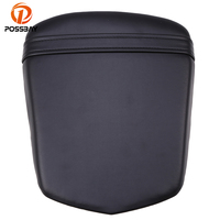 POSSBAY Black Leather Motorcycle Rear Passengers Back Seat Cover for Yamaha YZF R6  2003 2004 2005 Sportster Motorbike Seats