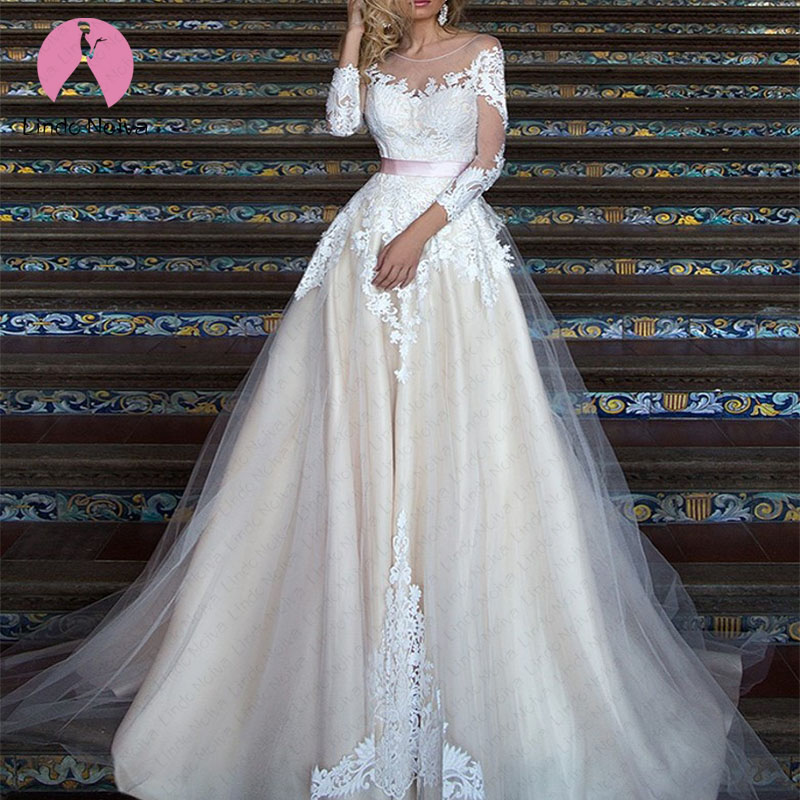 Cheap Vestido De Noiva Robe De Mariee Elegant Long Sleeves Scoop Ribbon Wedding Dresses 2020 Tulle Lace A Line Wedding Gowns