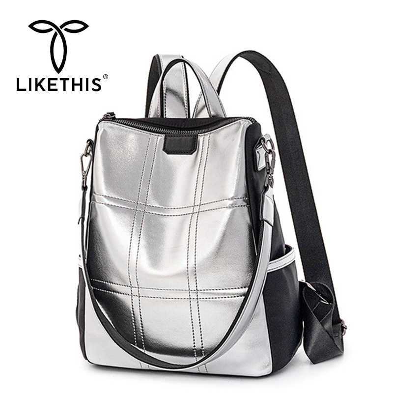 مثل هذه حقيبة ظهر عادية المرأة حقيبة جلدية مع جيوب الفضة أكسفورد كبيرة Mochila Mujer دي مودا 2019 Plecak рюкнанкольный