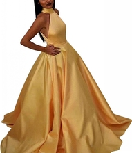 Elegant Robe De Soiree Muslim Women Halter Gold Long Maix Dress with Pockets Vestido De Festa Satin Prom Party Gowns Evening цена и фото