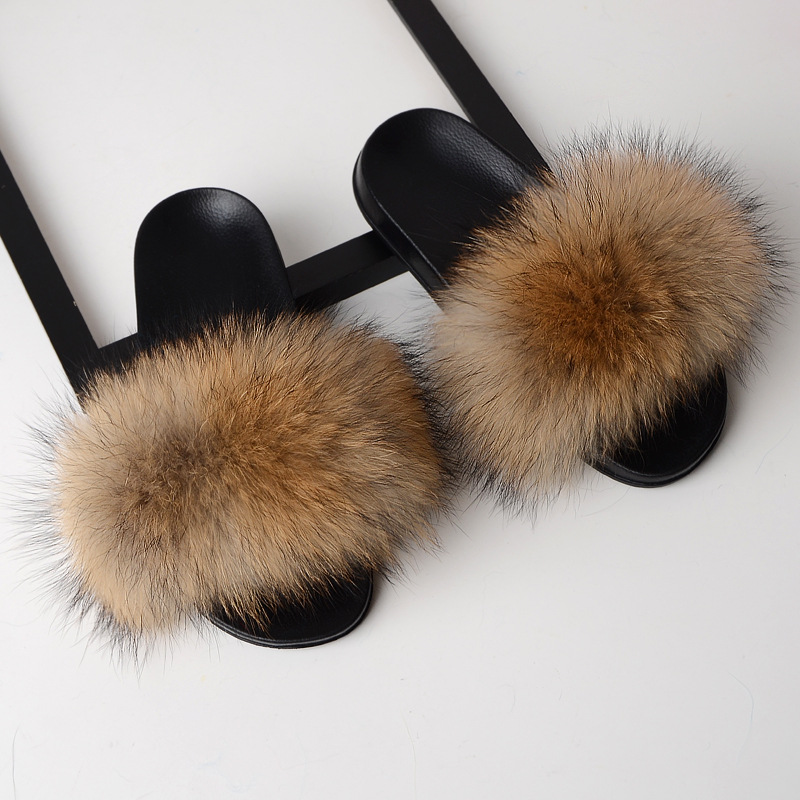 Hot Women Furry Slippers Ladies Cute Plush Natural Fox Hair Real Fur Summer Indoor Outdoor for