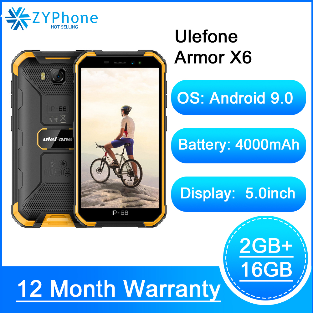 IP68 Waterproof Rugged Smartphone 2GB 16GB Android 9.0 4000mAh Face ID 8MP Cellphone Outdoor 3G Mobile Phone Ulefone Armor X6