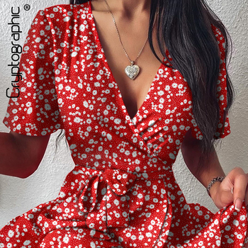 Cryptographic Floral Print Red Sexy V-Neck Wrap Mini Dresses for Women Holiday Summer Sundress Short Sleeve Party Dress cherry print wrap dress
