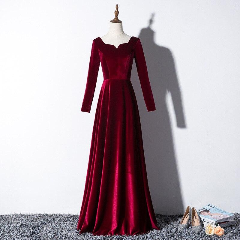 Élégant velours longues robes de soirée de bal 2019 manches longues de mariage formelle robes de soirée à lacets robe de soirée